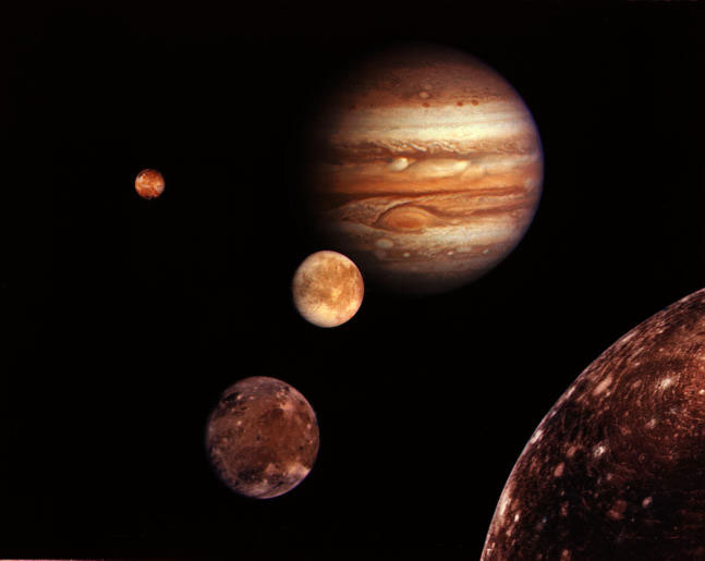 Montage of Jupiter and some of its moons.