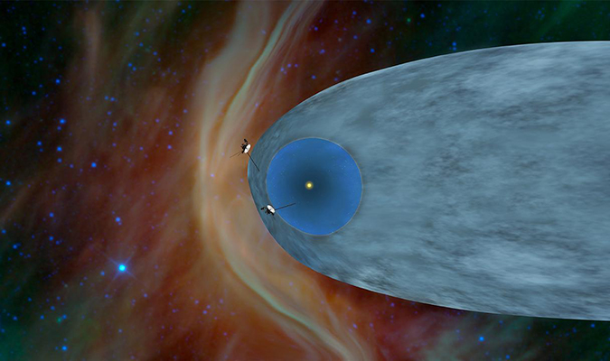 This artist's concept shows the general locations of NASA's two Voyager spacecraft. Voyager 1 (top) has sailed beyond our solar bubble into interstellar space, the space between stars. Its environment still feels the solar influence. Voyager 2 (bottom) is still exploring the outer layer of the solar bubble.