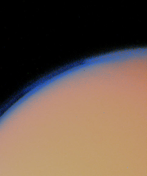 Moon Titan and thick haze. Photo Nov. 12, 1980. Range 435,000 km.