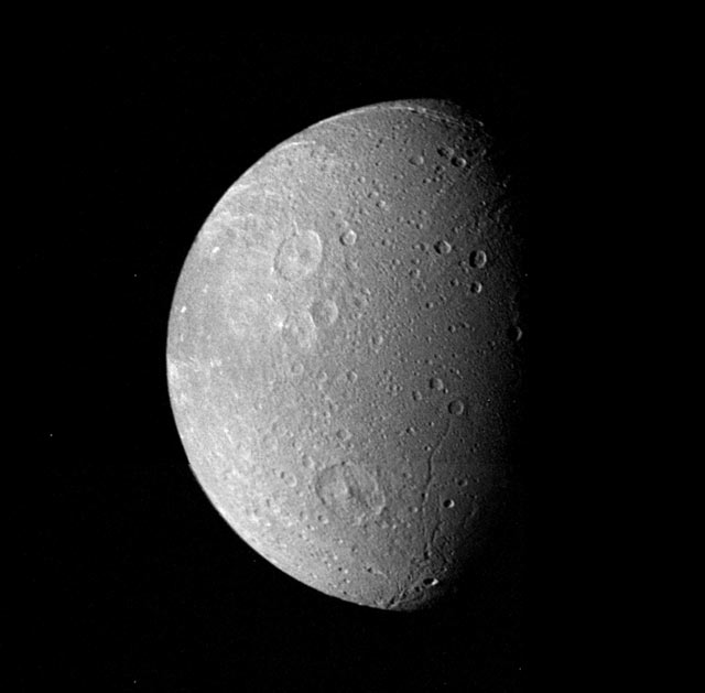 Moon Dione. Many impact craters. Photo Nov. 12, 1980.