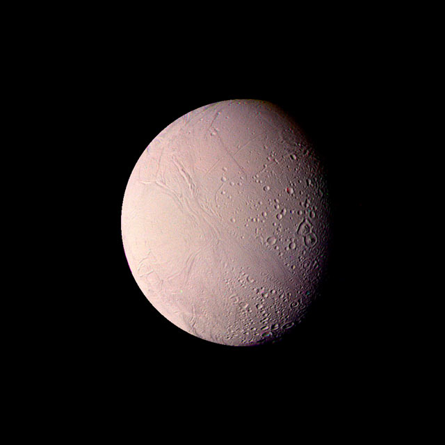 Saturn's Moon Enceladus. 310 miles in diameter. Aug. 25, 1982. 74,000 miles.