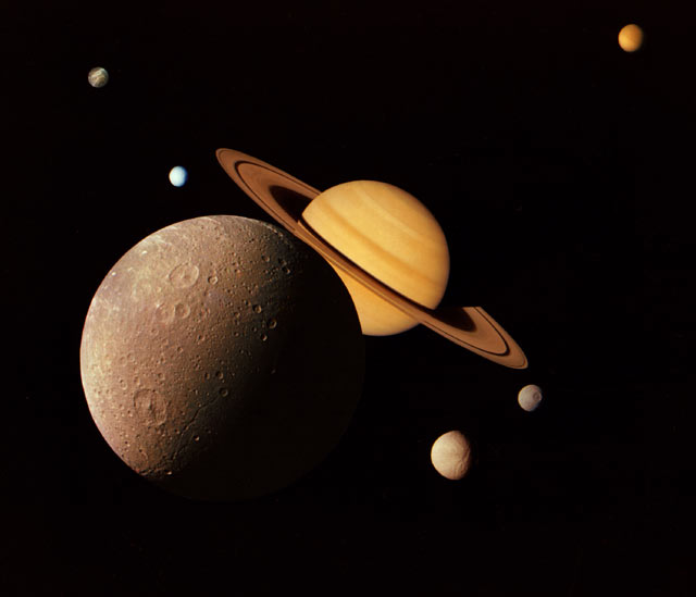 Montage of Saturnian system.