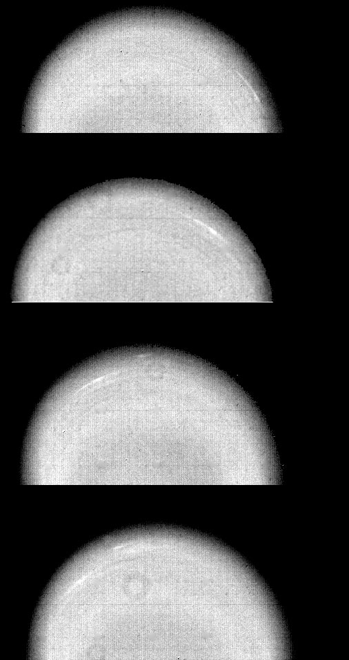 Time-lapse images show cloud movements in Uranus's atmosphere over 4.6-hour interval.