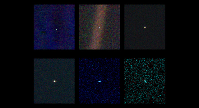 These six narrow-angle color images were made from the first ever 'portrait' of the solar system taken by Voyager 1, which was more than 4 billion miles from Earth and about 32 degrees above the ecliptic.