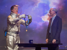 "Galactic commander and talk show host Stephen ""Tiberius"" Colbert presented Ed Stone, the project scientist of NASA's Voyager mission, with a NASA Distinguished Public Service Medal. Stone was a guest on Colbert's show on Dec. 3, 2013."