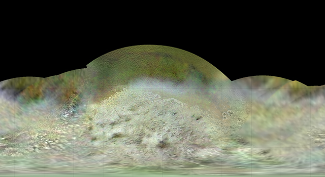 The Voyager 2 spacecraft flew by Triton, a moon of Neptune, in the summer of 1989. Image credit: NASA/JPL-Caltech/Lunar & Planetary Institute