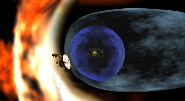 This artist's rendering depicts NASAs Voyager 2 spacecraft as it studies the outer limits of the heliosphere - a magnetic 'bubble' around the solar system that is created by the solar wind. Image credit: NASA/JPL-Caltech.