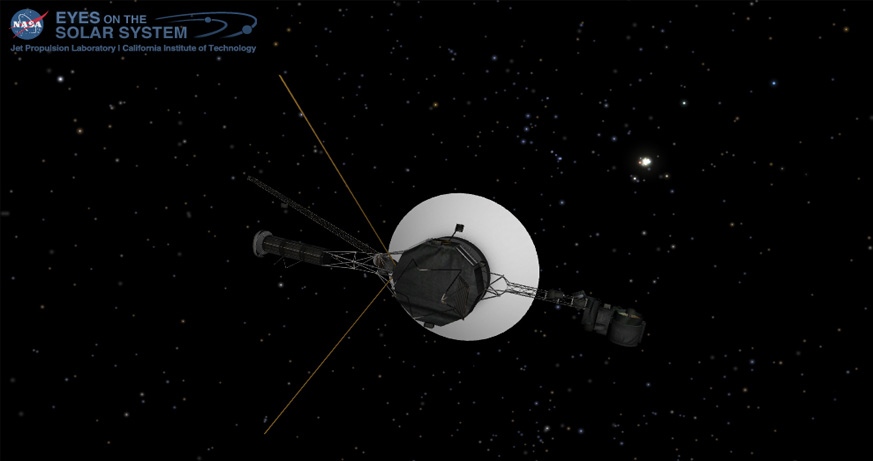Voyager as seen on NASA Eyes on the Solar System app
